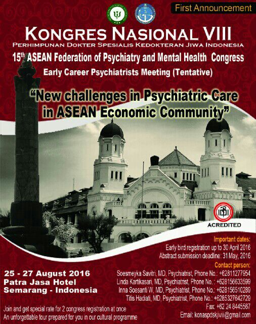 15th ASEAN Federation of Psychiatry and Mental health Congress at Semarang Indonesia
